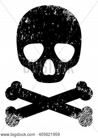 Death Skull Icon With Scratched Effect. Isolated Raster Death Skull Icon Image With Corroded Rubber