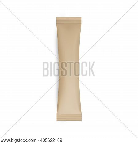 Kraft Stick Sachet Mockup Isolated On White Background. Vector Illustration