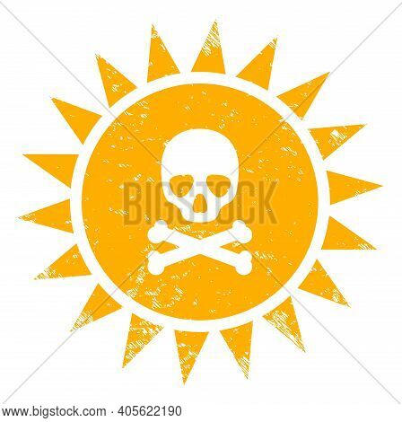Death Sun Radiation Icon With Scratched Style. Isolated Raster Death Sun Radiation Icon Image With S