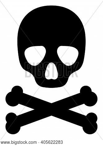 Death Skull Icon With Flat Style On A White Background. Isolated Raster Death Skull Icon Illustratio