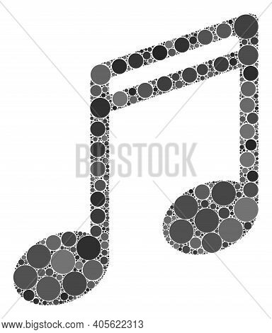 Music Notes Raster Collage Of Small Circles In Various Sizes And Color Tones. Small Circles Are Unit