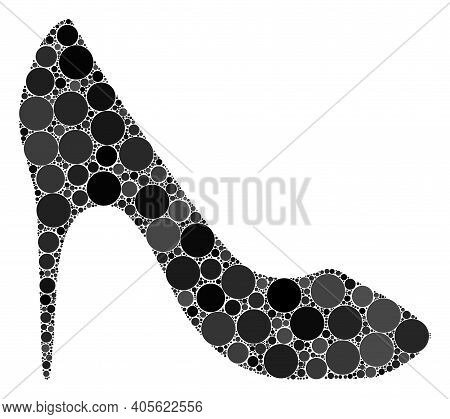High Heel Shoe Raster Composition Of Round Dots In Different Sizes And Color Tones. Round Dots Are C