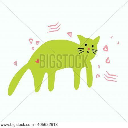 Strange Green Cat Hand-drawn, Unusual Vector Cat