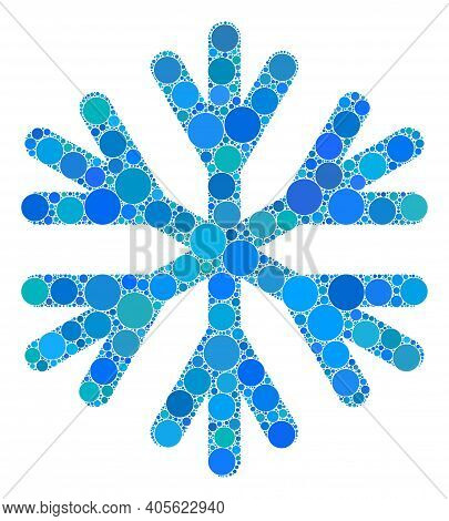 Snow Flake Raster Mosaic Of Small Circles In Various Sizes And Color Tones. Small Circles Are Compos