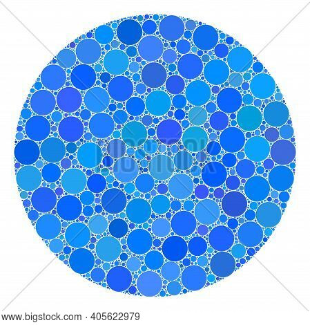 Circle Raster Collage Of Round Dots In Different Sizes And Color Tints. Round Dots Are Grouped Into