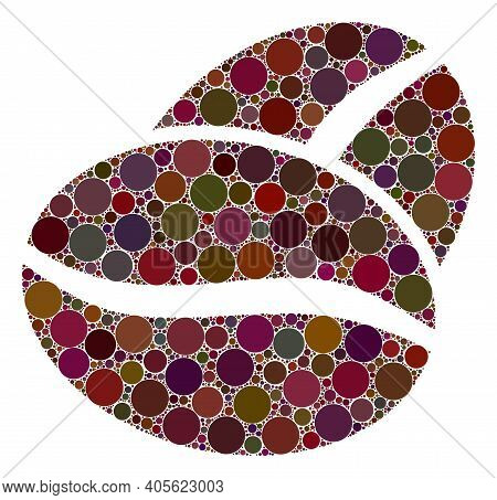 Coffee Bean V2 Raster Mosaic Of Circle Dots In Different Sizes And Color Tones. Circle Dots Are Orga