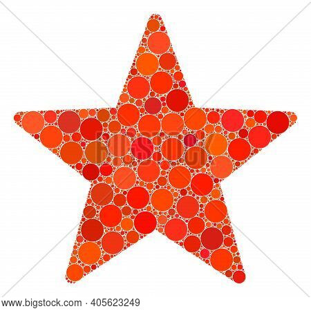 Star Raster Mosaic Of Circle Dots In Different Sizes And Color Shades. Circle Dots Are Organized Int