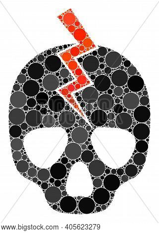 Death Strike Raster Collage Of Round Dots In Different Sizes And Color Tones. Round Dots Are United