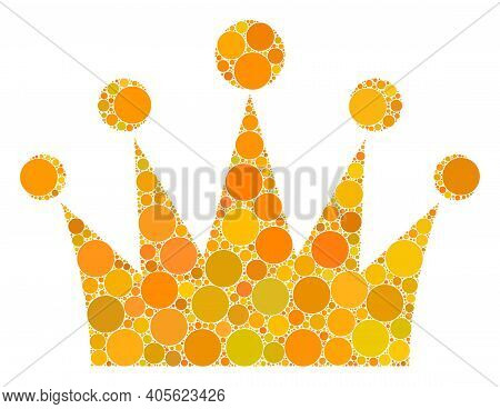 Crown Raster Composition Of Round Dots In Various Sizes And Color Tinges. Round Dots Are Grouped Int