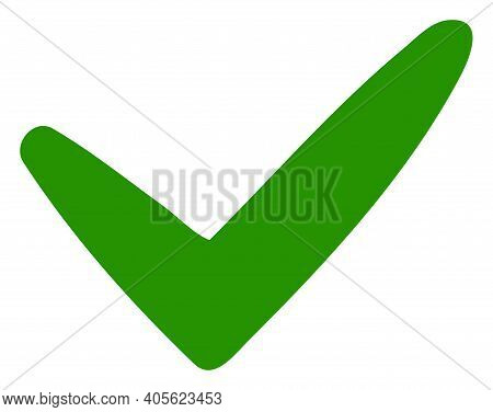 Yes Icon With Flat Style On A White Background. Isolated Raster Yes Icon Image, Simple Style.