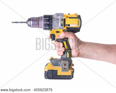Yellow Cordless Battery Powered Drill Isolated On White Background.