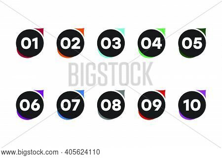 Vector Icons, Colored Numbers. Bullet Points Numbers One To Ten. Label Shape Vector Numbers.