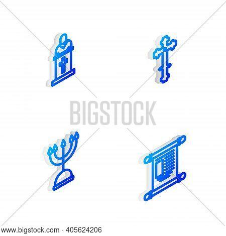 Set Isometric Line Christian Cross, Church Pastor Preaching, Hanukkah Menorah And Decree, Paper, Par