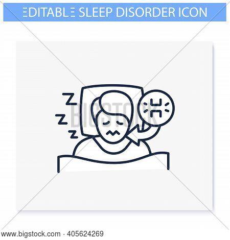 Teeth Grinding Line Icon. Sleep Disorder. Healthy Sleeping Concept. Sleep Problems Treatment. Stress