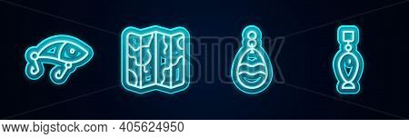 Set Line Fishing Lure, Folded Map, Spoon And . Glowing Neon Icon. Vector