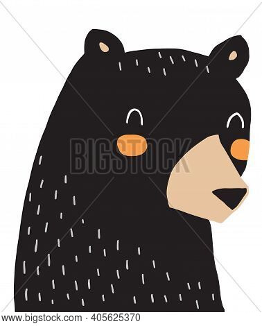 Big Black Bear On A White Background. Cute Hand Drawn Vector Illustration With Grizzly Bear. Nursery