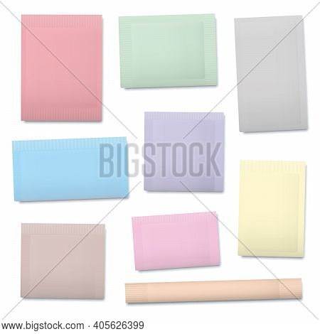 Pastel Colored Paper Sachets, Blank Unlabeled Packaging Templates For Sugar, Salt, Tea, Seeds, Cosme