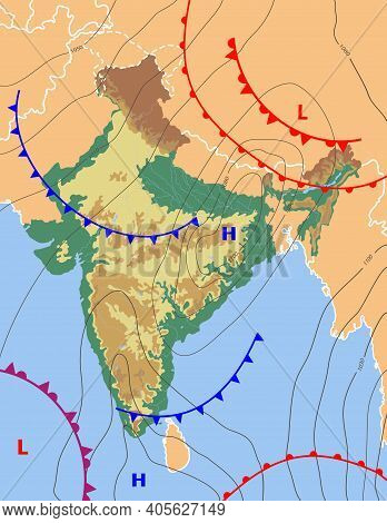 Realistic Weather Map Of The India Showing Isobars And Weather Fronts. Meteorological Forecast. Topo
