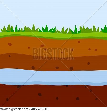 Land In The Section. Underground River And Reservoir. Brown Soil Layer. Underground Geology. Summer