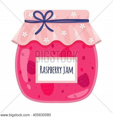Glass Jar With Raspberry Jam. Sweet Food, Jam With Berries, Homemade Food, Treats, Dessert. Color Ve