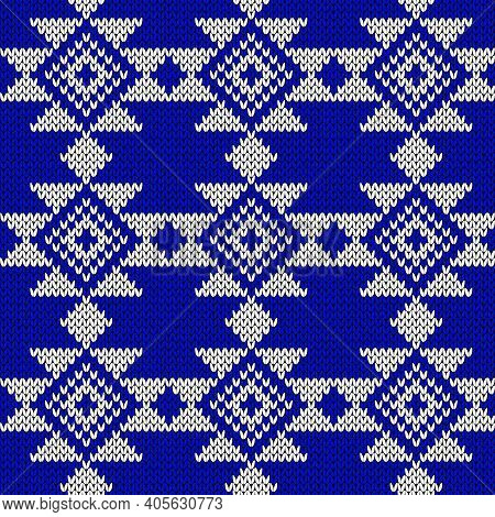 Seamless Knitting Contrast Ornate In Blue And White Colors, Vector Pattern As A Fabric Texture