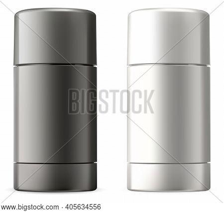 Deodorant Stick. White, Black Bottle Mockup Blank. Glossy Plastic Cosmetics Packaging For Antiperspi