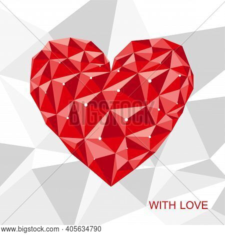 Red Polygonal Heart On White Polygonal Background