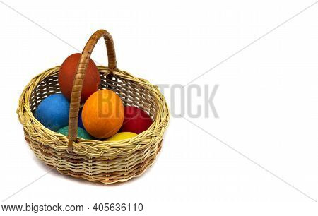 Easter Eggs. Happy Easter Card. Multicolored Easter Eggs. Easter. Easter Eggs In A Basket On A White