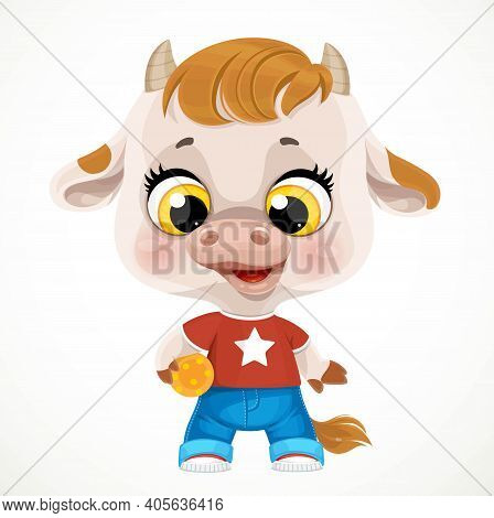 Cute Cartoon Baby Calf With Orange Ball Isolated On A White Background
