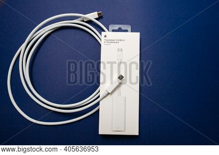 Paris, France - Nov 8, 2018: Overhead View Of New Unboxed Apple Computers Connection Thunderbolt Usb