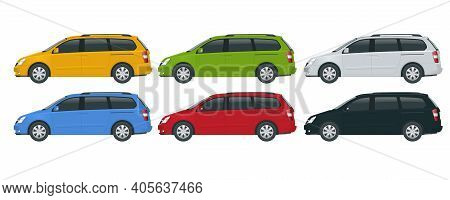 Minivan Car Vector Template On White Background. Compact Crossover, Suv, 5-door Minivan Car. View Si