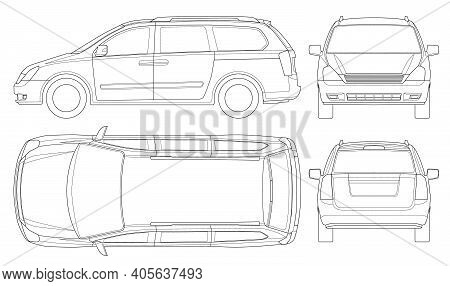 Minivan Car Vector Template On White Background. Compact Crossover, Suv, 5-door Minivan Car. Car Lin