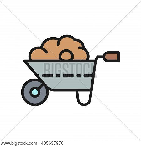 Wheelbarrow With Organic Fertilizer, Manure, Agriculture Flat Color Line Icon.