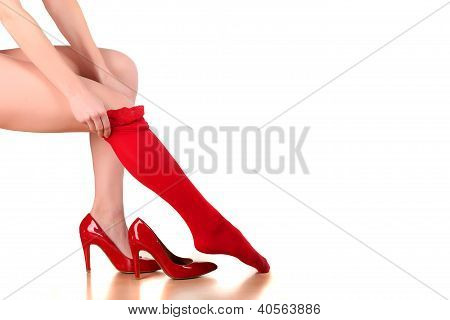 red stockings, and high heels