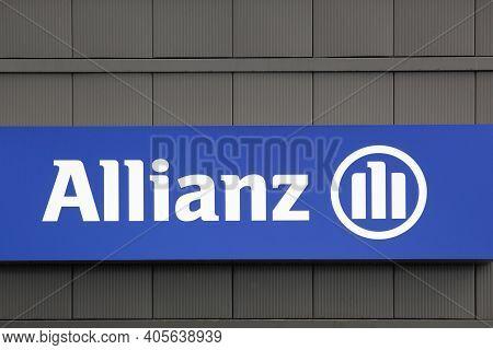 Bourg, France - September 26, 2020: Allianz Sign On A Wall. Allianz Is A European Financial Services