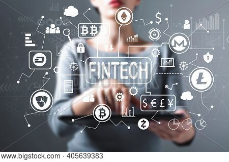 Cryptocurrency Fintech Theme With Business Woman Using A Tablet Computer