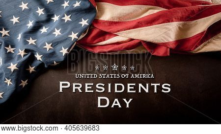 Happy Presidents Day Concept With Vintage Flag Of The United States On Dark Stone Background.