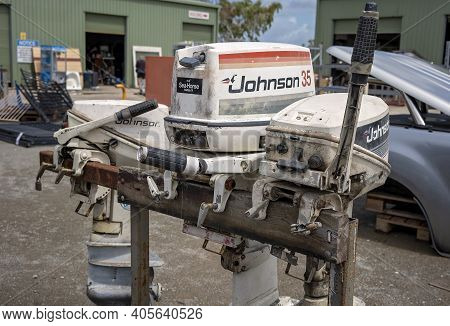 Mackay, Queensland, Australia - January 2021: Outboard Boat Motors For Sale At The Local Tip Shop