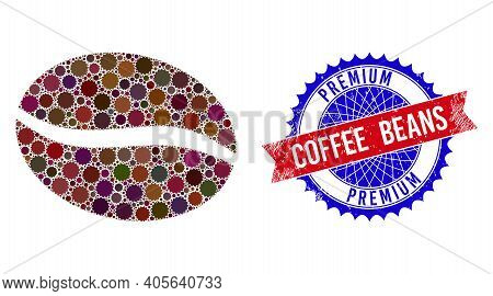 Coffee Bean Vector Composition Of Sharp Rosettes And Premium Coffee Beans Grunge Stamp Imitation. Bi
