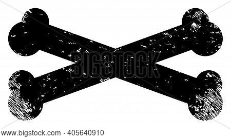 Bones Icon With Scratched Style. Isolated Vector Bones Icon Image With Scratched Rubber Texture On A