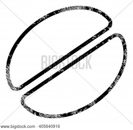 Cacao Bean Icon With Scratched Effect. Isolated Vector Cacao Bean Icon Image With Scratched Rubber T