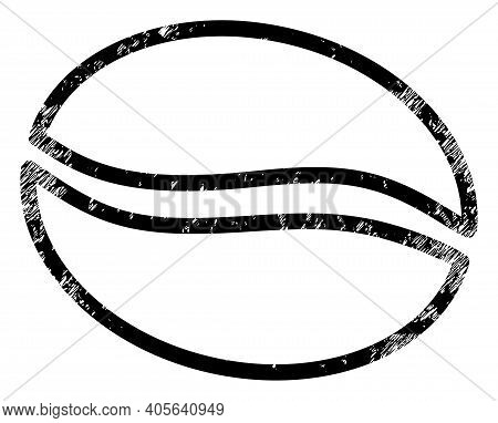 Cacao Beans Icon With Grunge Style. Isolated Vector Cacao Beans Icon Image With Grunge Rubber Textur