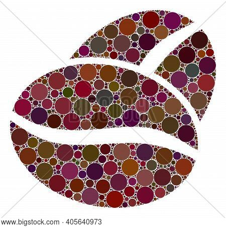 Coffee Beans Vector Composition Of Dots In Variable Sizes And Color Shades. Round Dots Are Combined