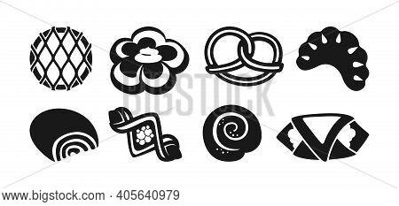 Buns Black Glyph Icon Set Bakery Flat Bun Vector