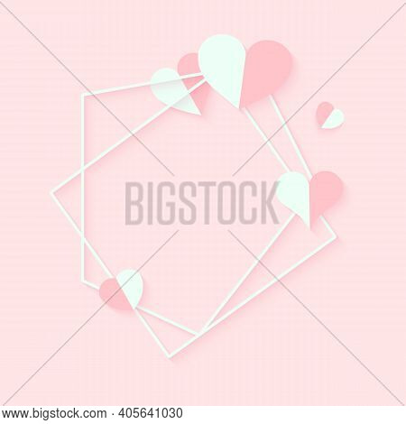 Abstract Polygonal Geometric White Frame With Pink Hearts. Template Empty Text Banner For Valentines