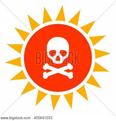 Death Sun Radiation Icon With Flat Style On A White Background. Isolated Vector Death Sun Radiation