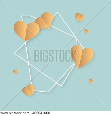 Closeup Of Abstract Polygonal Geometric White Frame With Gold Hearts. Template Empty Text Banner For