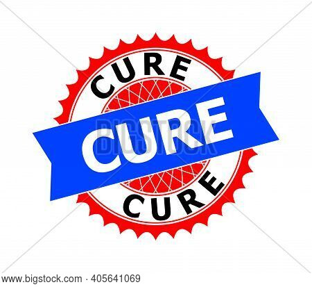 Vector Cure Bicolor Template For Watermarks With Clean Surface. Flat Clean Seal Template With Cure T