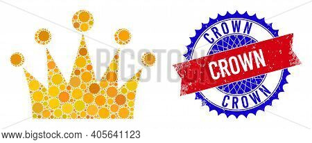 Crown Vector Composition Of Sharp Rosettes And Crown Rough Seal. Bicolor Crown Stamp Seal Uses Roset