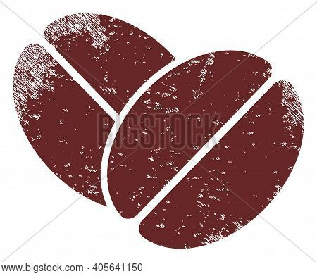 Cacao Beans Icon With Scratched Effect. Isolated Vector Cacao Beans Pictogram With Scratched Rubber
